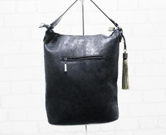 Дамска чанта еко кожа черно/златиста LSIW-25380