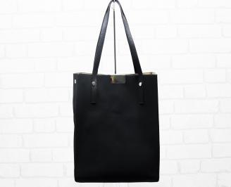 Дамска чанта еко кожа/набук черна KOSO-25397