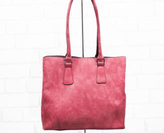 Дамска чанта еко кожа/набук червена ZOCU-25406