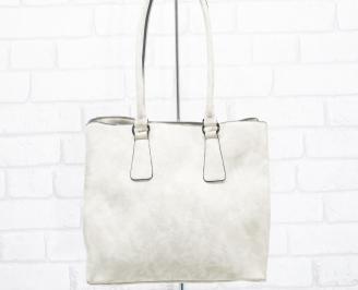Дамска чанта еко кожа бежова IBDP-25407