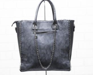 Дамска чанта еко кожа/ набук черна TMOP-25417