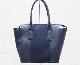 Дамска чанта еко кожа синя ZRKJ-25478
