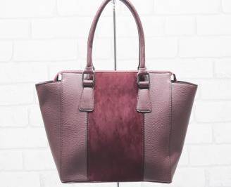 Дамска чанта еко кожа бордо BHIH-25480