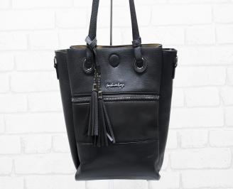 Дамска чанта еко кожа/велур черна UUCS-25787