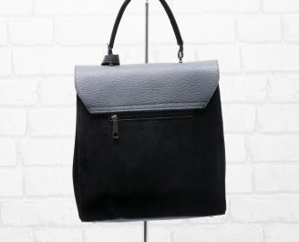 Дамска чанта еко кожа/еко велур черна