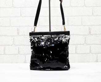 Дамска чанта еко кожа/паети черна SXPL-26246