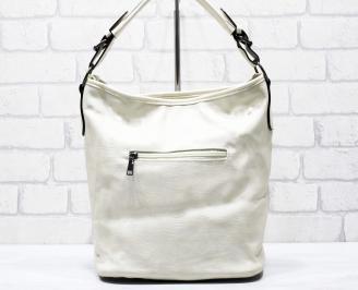 Дамска чанта еко кожа бежова AFDE-26269