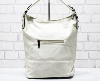 Дамска чанта еко кожа бежова KCDQ-26270