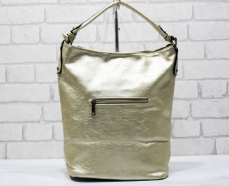 Дамска чанта еко кожа златиста GFSU-26275