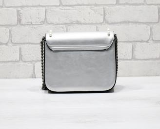 Дамска чанта еко кожа сребриста LROV-26279