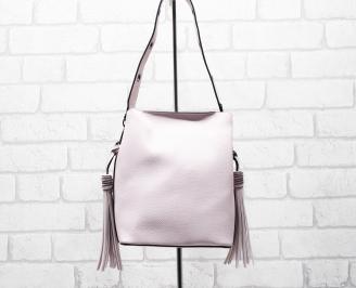 Дамска чанта еко кожа розова RGVQ-26285