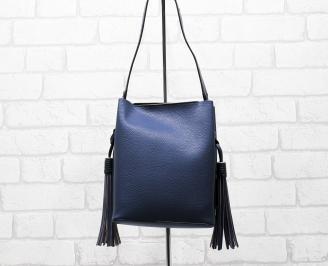 Дамска чанта еко кожа синя EMQZ-26286
