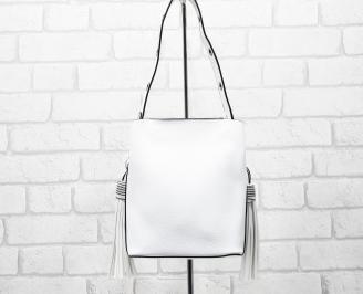 Дамска чанта еко кожа бяла CPAM-26287