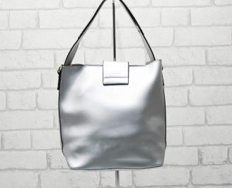 Дамска чанта еко кожа сребриста WODX-26329