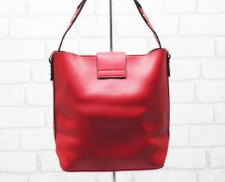 Дамска чанта еко кожа червена QMRH-26331