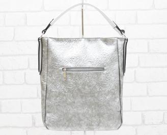 Дамска чанта еко кожа сребриста OEDC-26347