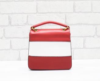 Дамска чанта еко кожа червено/бяло XXXL-26351