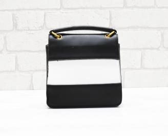 Дамска чанта еко кожа черно/бяло MJPW-26353