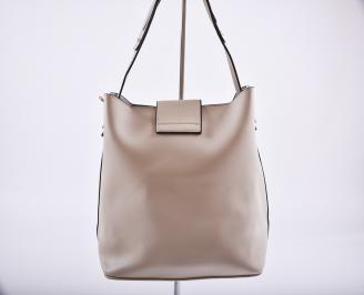Дамска чанта еко кожа бежова XLVH-26358