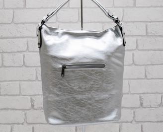 Дамска чанта еко кожа сребриста VYBE-26411