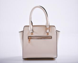 Дамска чанта еко кожа бежова TREF-27174