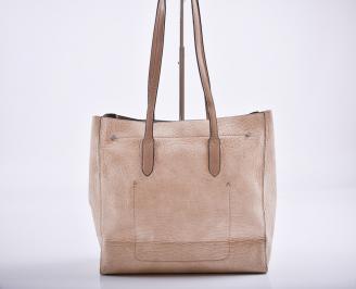 Дамска чанта еко кожа  пудра BSIH-27179