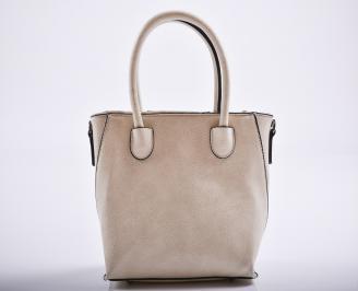 Дамска чанта еко кожа бежова MALI-27183