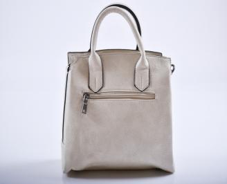 Дамска чанта еко кожа бежова XLSO-27190