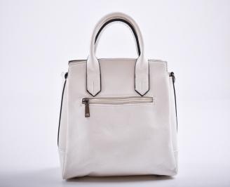 Дамска чанта еко кожа бяла OCIA-27192