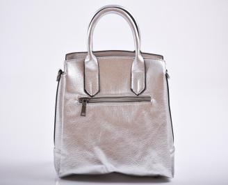 Дамска чанта еко кожа сребриста NDTF-27193