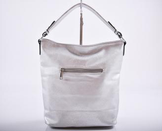Дамска чанта еко кожа сребриста AETB-27201