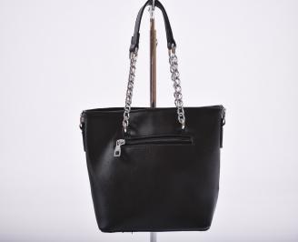 Дамска чанта еко кожа черна KSVT-27202