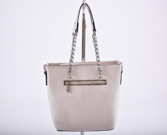 Дамска чанта еко кожа бежова KSIO-27203