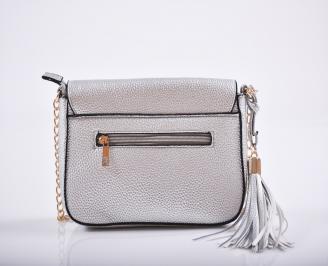 Дамска чанта еко кожа сребриста KMOQ-27211