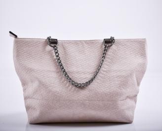 Дамска чанта еко кожа  пудра OLXE-27220