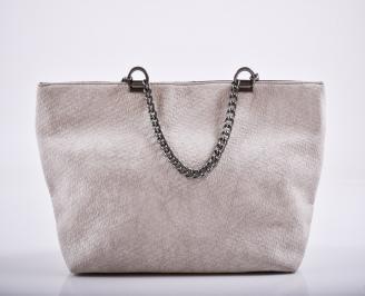 Дамска чанта еко кожа бежова RQGJ-27225