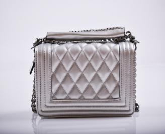 Дамска чанта еко кожа сребриста OXBX-27234