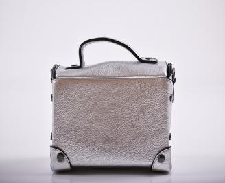 Дамска чанта еко кожа сребриста QMHC-27239