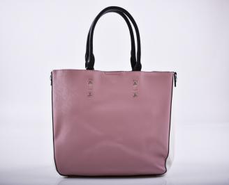 Дамска чанта еко кожа розова CPZR-27240
