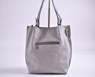 Дамска чанта еко кожа сива ZSBD-27347