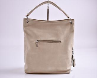 Дамска чанта еко кожа бежова POGD-27355