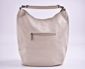 Дамска чанта еко кожа бежова HUVA-27364