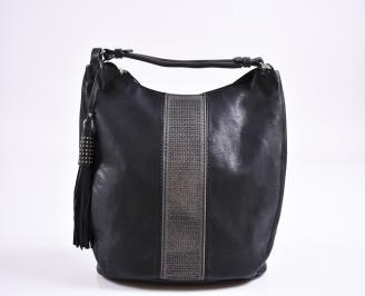 Дамска чанта еко кожа черна STES-27365