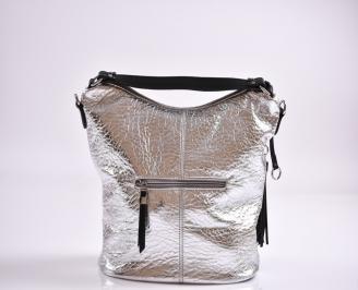 Дамска чанта еко кожа сребриста PMTA-27366