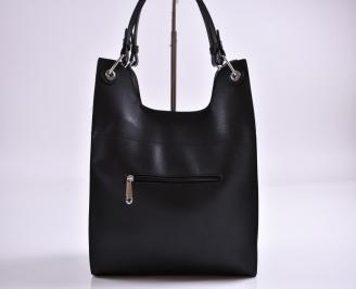 Дамска чанта еко кожа черна TGOG-27367