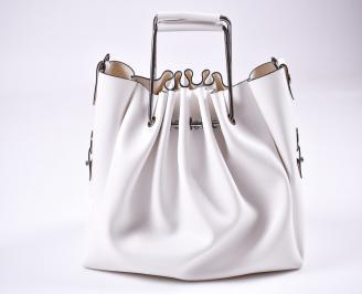 Дамска чанта еко кожа бяла OFSY-1009999