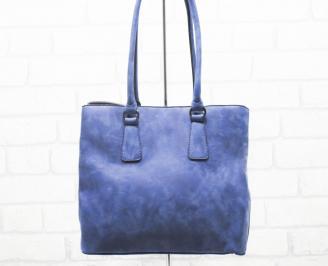 Дамска чанта еко набук синя LUHT-25411