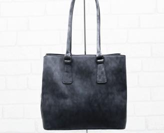 Дамска чанта еко набук черна XOUZ-25414