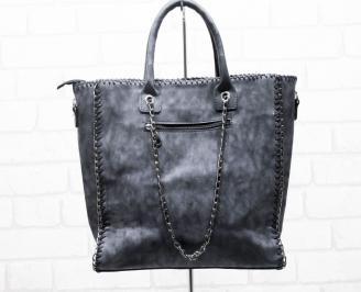 Дамска чанта еко  набук черна OMXO-25416