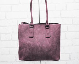 Дамска чанта еко набук бордо PQCP-25418